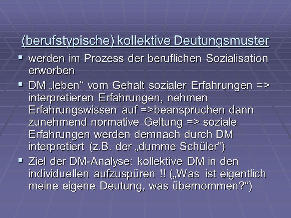"""(berufstypische) kollektive Deutungsmuster  werden im Prozess der beruflichen Sozialisation erworben  DM """"leben"""" vom Gehalt sozialer Erfahrungen =>"""