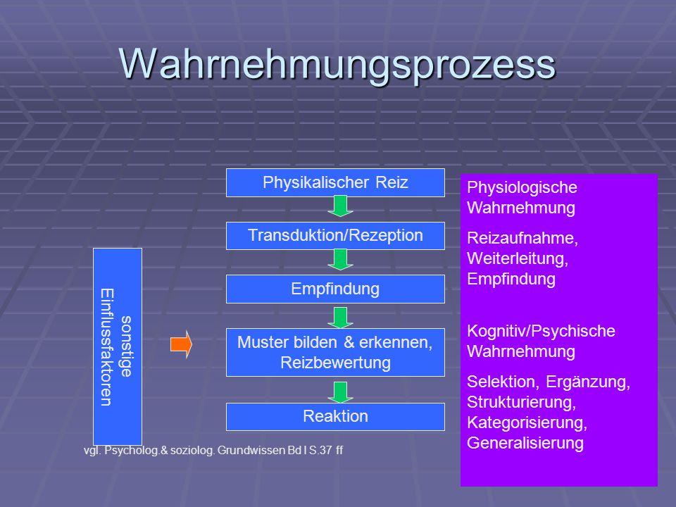 Physikalischer Reiz Transduktion/Rezeption Empfindung Muster bilden & erkennen, Reizbewertung sonstige Einflussfaktoren vgl. Psycholog.& soziolog. Gru