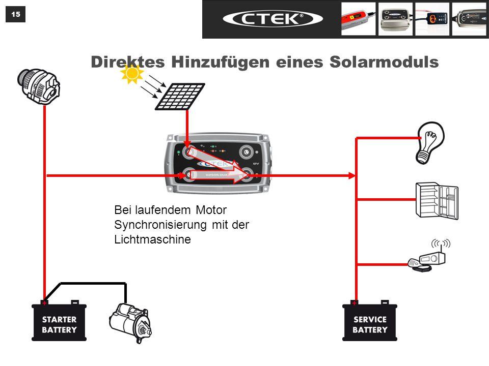 15 Bei laufendem Motor Synchronisierung mit der Lichtmaschine Direktes Hinzufügen eines Solarmoduls