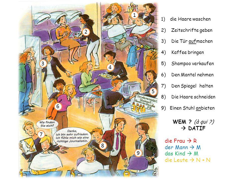 1)die Haare waschen 2) Zeitschrifte geben 3) Die Tür aufmachen 4) Kaffee bringen 5) Shampoo verkaufen 6) Den Mantel nehmen 7) Den Spiegel halten 8) Di