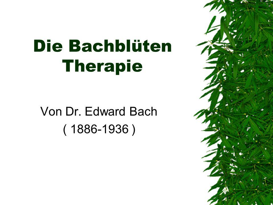 Die Bachblüten Therapie Von Dr. Edward Bach ( 1886-1936 )