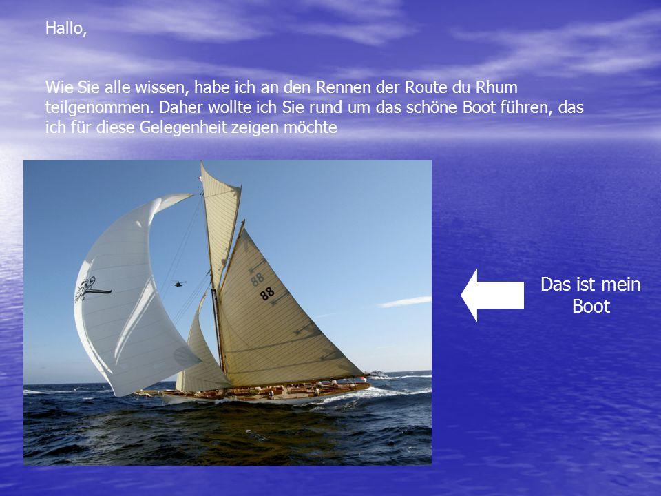 Hallo, Wie Sie alle wissen, habe ich an den Rennen der Route du Rhum teilgenommen. Daher wollte ich Sie rund um das schöne Boot führen, das ich für di