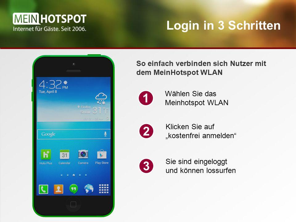 """Login in 3 Schritten Wählen Sie das Meinhotspot WLAN 1 Klicken Sie auf """"kostenfrei anmelden 2 Sie sind eingeloggt und können lossurfen 3 So einfach verbinden sich Nutzer mit dem MeinHotspot WLAN"""