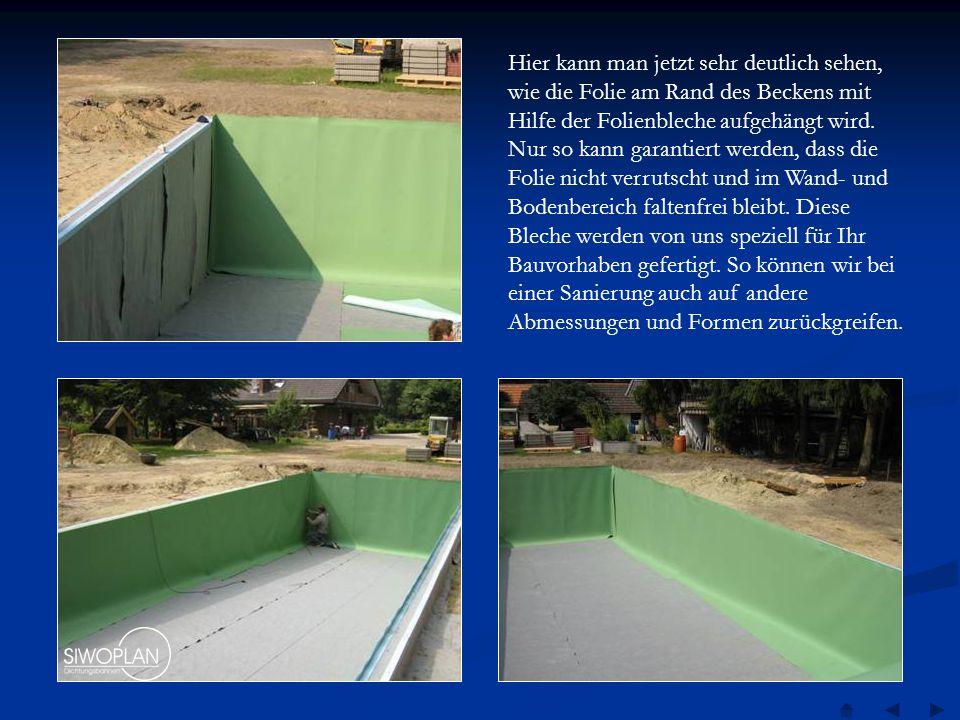 Nachdem alle Nähte ordentlich verschweißt und natürlich auch geprüft wurden, wird nun das Schwimmbecken und der Regenerationsbereich gefüllt.
