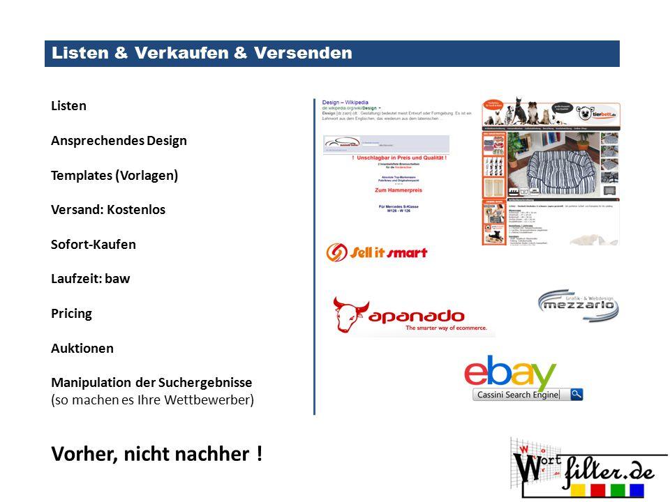 Listen & Verkaufen & Versenden Listen Ansprechendes Design Templates (Vorlagen) Versand: Kostenlos Sofort-Kaufen Laufzeit: baw Pricing Auktionen Manip
