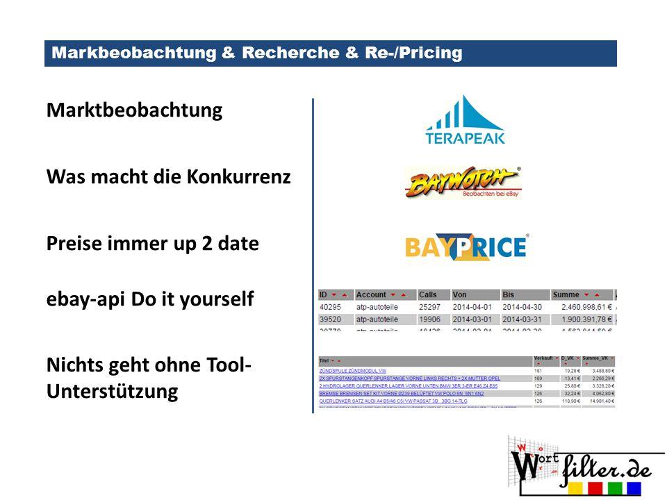 Markbeobachtung & Recherche & Re-/Pricing Marktbeobachtung Was macht die Konkurrenz Preise immer up 2 date Nichts geht ohne Tool- Unterstützung ebay-a