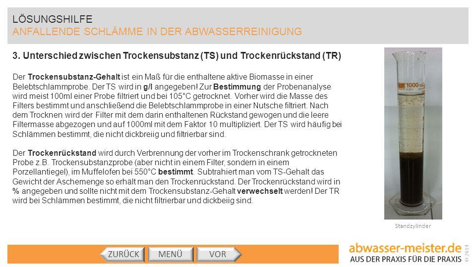 © 2014 LÖSUNGSHILFE ANFALLENDE SCHLÄMME IN DER ABWASSERREINIGUNG 3. Unterschied zwischen Trockensubstanz (TS) und Trockenrückstand (TR) Der Trockensub