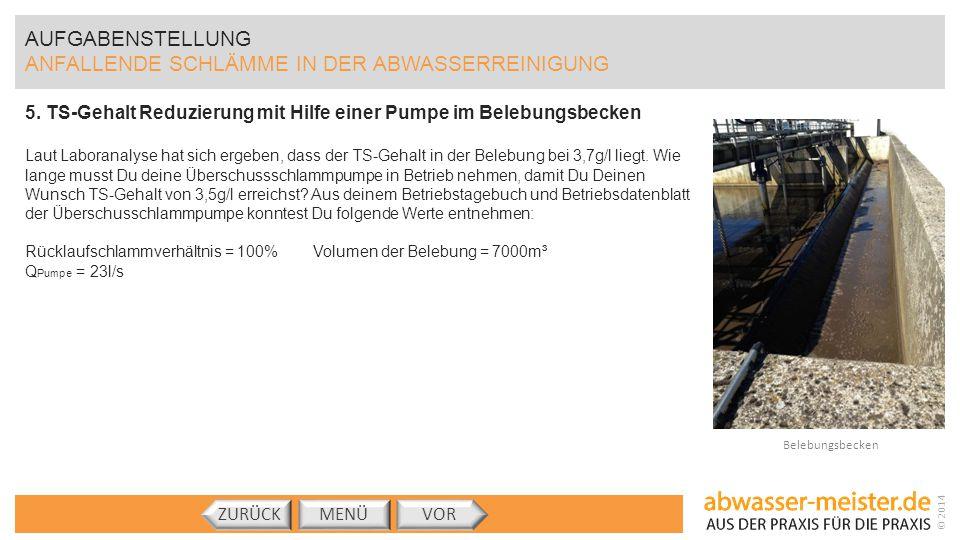 © 2014 AUFGABENSTELLUNG ANFALLENDE SCHLÄMME IN DER ABWASSERREINIGUNG 5. TS-Gehalt Reduzierung mit Hilfe einer Pumpe im Belebungsbecken Laut Laboranaly