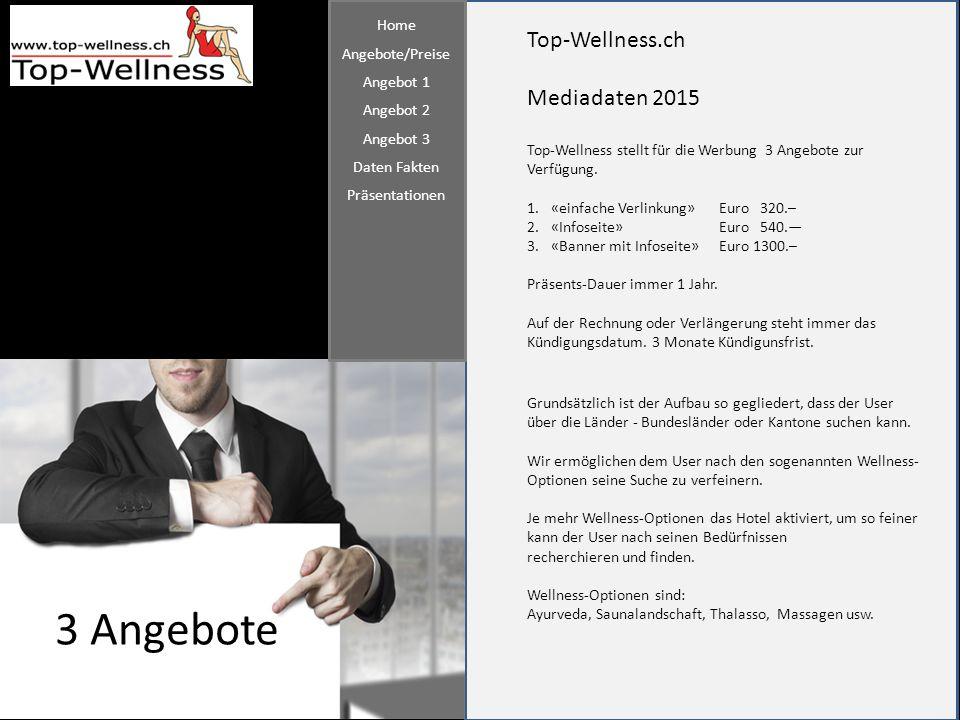 Top-Wellness.ch Mediadaten 2015 3 Angebote Top-Wellness stellt für die Werbung 3 Angebote zur Verfügung. 1.«einfache Verlinkung»Euro 320.– 2.«Infoseit