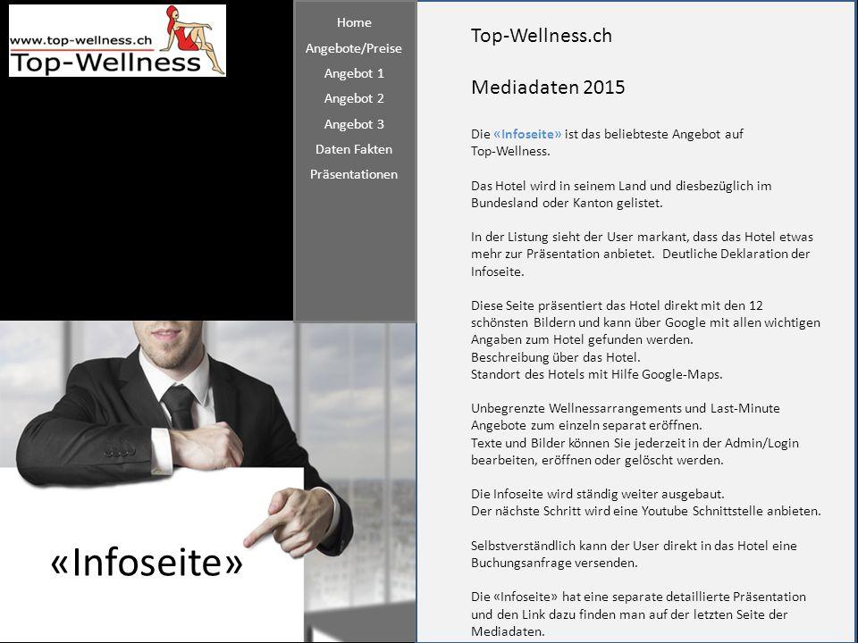 Top-Wellness.ch Mediadaten 2015 «Infoseite» Die «Infoseite» ist das beliebteste Angebot auf Top-Wellness. Das Hotel wird in seinem Land und diesbezügl