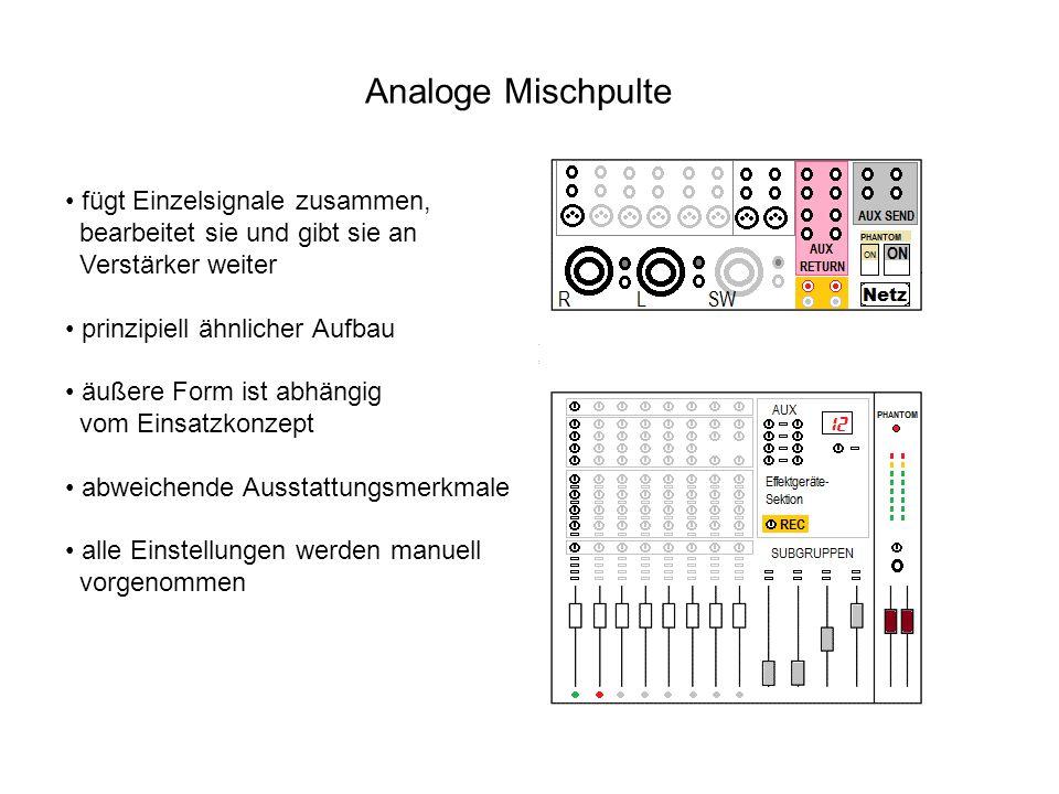 Analoge Mischpulte fügt Einzelsignale zusammen, bearbeitet sie und gibt sie an Verstärker weiter prinzipiell ähnlicher Aufbau äußere Form ist abhängig