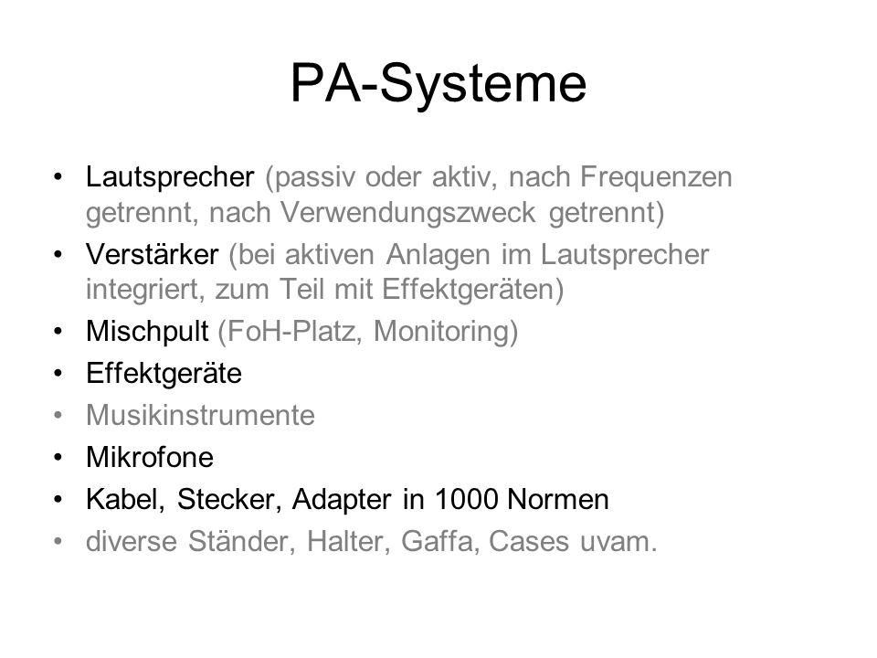 PA-Systeme Lautsprecher (passiv oder aktiv, nach Frequenzen getrennt, nach Verwendungszweck getrennt) Verstärker(bei aktiven Anlagen im Lautsprecher i