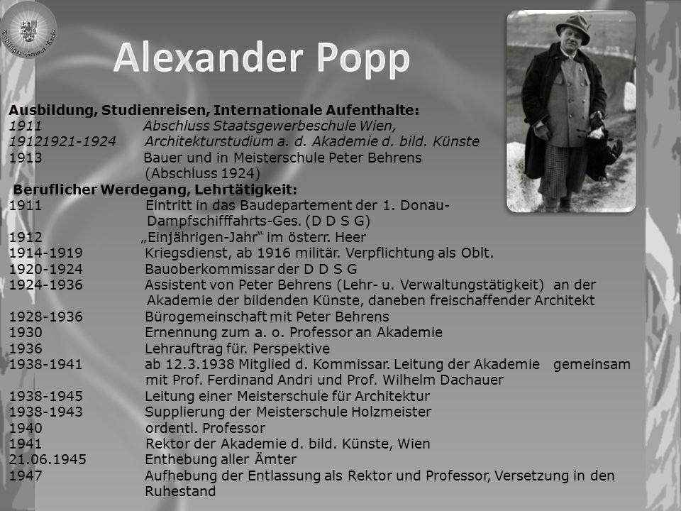Alexander Popp Öffentliche Bauten 1911-1924 DDSG – Stations- u.
