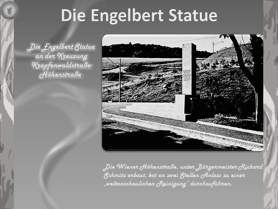 Die Gedenktafel anlässlich der Fertigstellung der Höhenstraße am Erinnerungsstein auf der Höhe des Kahlenberges in der Nähe des Restaurants, gegenüber der St.