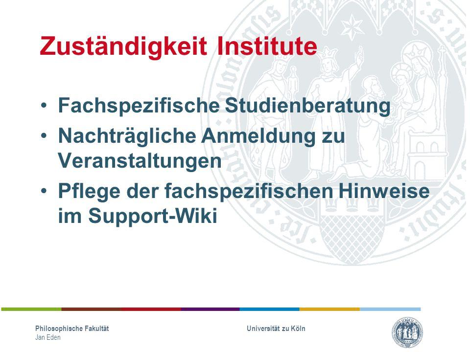 Zuständigkeit Institute Fachspezifische Studienberatung Nachträgliche Anmeldung zu Veranstaltungen Pflege der fachspezifischen Hinweise im Support-Wik