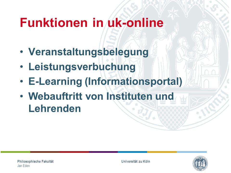 Funktionen in uk-online Veranstaltungsbelegung Leistungsverbuchung E-Learning (Informationsportal) Webauftritt von Instituten und Lehrenden Philosophi