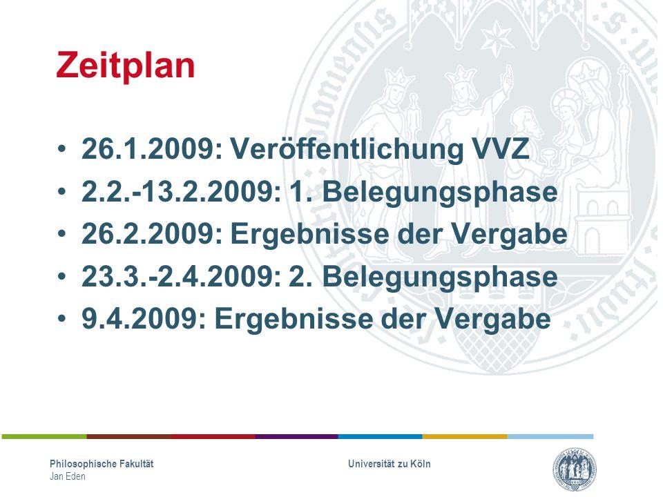Zeitplan 26.1.2009: Veröffentlichung VVZ 2.2.-13.2.2009: 1. Belegungsphase 26.2.2009: Ergebnisse der Vergabe 23.3.-2.4.2009: 2. Belegungsphase 9.4.200