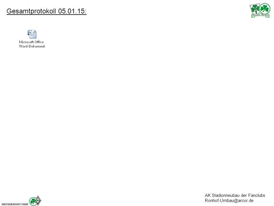 Gesamtprotokoll 05.01.15: AK Stadionneubau der Fanclubs Ronhof-Umbau@arcor.de