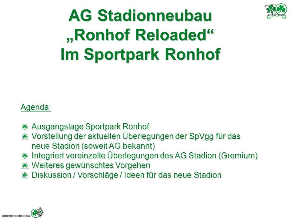 """AG Stadionneubau """"Ronhof Reloaded Im Sportpark Ronhof Agenda: Ausgangslage Sportpark Ronhof Vorstellung der aktuellen Überlegungen der SpVgg für das neue Stadion (soweit AG bekannt) Integriert vereinzelte Überlegungen des AG Stadion (Gremium) Weiteres gewünschtes Vorgehen Diskussion / Vorschläge / Ideen für das neue Stadion"""