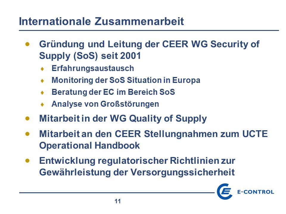 11 Internationale Zusammenarbeit  Gründung und Leitung der CEER WG Security of Supply (SoS) seit 2001  Erfahrungsaustausch  Monitoring der SoS Situ