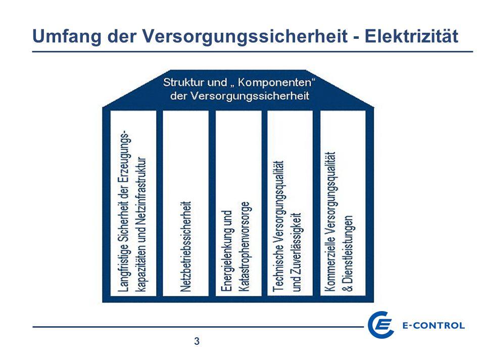 """4 Definition (CEER) """" Versorgungssicherheit bedeutet, dass die Verbraucher elektrische Energie und Gas beziehen können, zum Zeitpunkt wann sie diese benötigen, mit definierter Qualität und zu transparenten und kostenorientierten Preisen."""