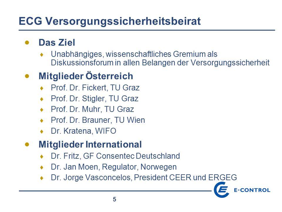 5 ECG Versorgungssicherheitsbeirat  Das Ziel  Unabhängiges, wissenschaftliches Gremium als Diskussionsforum in allen Belangen der Versorgungssicherh