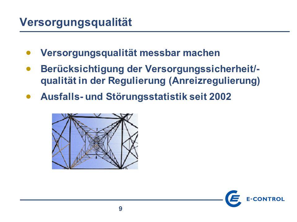 9 Versorgungsqualität  Versorgungsqualität messbar machen  Berücksichtigung der Versorgungssicherheit/- qualität in der Regulierung (Anreizregulieru