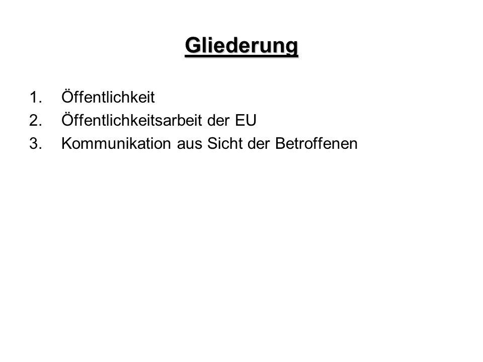 Gliederung 1.Öffentlichkeit 2.Öffentlichkeitsarbeit der EU 3.Kommunikation aus Sicht der Betroffenen