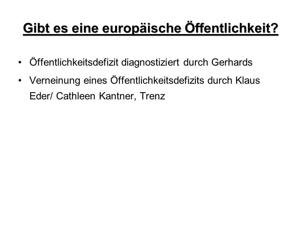 Gibt es eine europäische Öffentlichkeit? Öffentlichkeitsdefizit diagnostiziert durch Gerhards Verneinung eines Öffentlichkeitsdefizits durch Klaus Ede