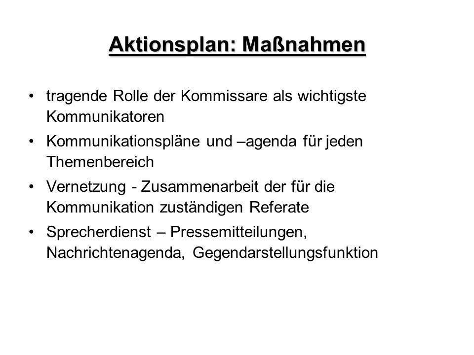 Aktionsplan: Maßnahmen tragende Rolle der Kommissare als wichtigste Kommunikatoren Kommunikationspläne und –agenda für jeden Themenbereich Vernetzung