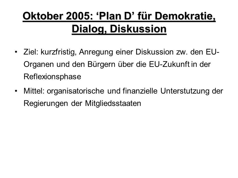 Oktober 2005: 'Plan D' für Demokratie, Dialog, Diskussion Ziel: kurzfristig, Anregung einer Diskussion zw. den EU- Organen und den Bürgern über die EU