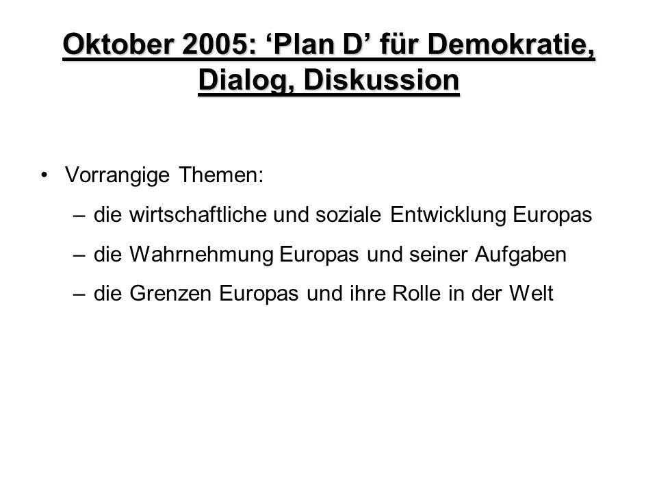 Oktober 2005: 'Plan D' für Demokratie, Dialog, Diskussion Vorrangige Themen: –die wirtschaftliche und soziale Entwicklung Europas –die Wahrnehmung Eur