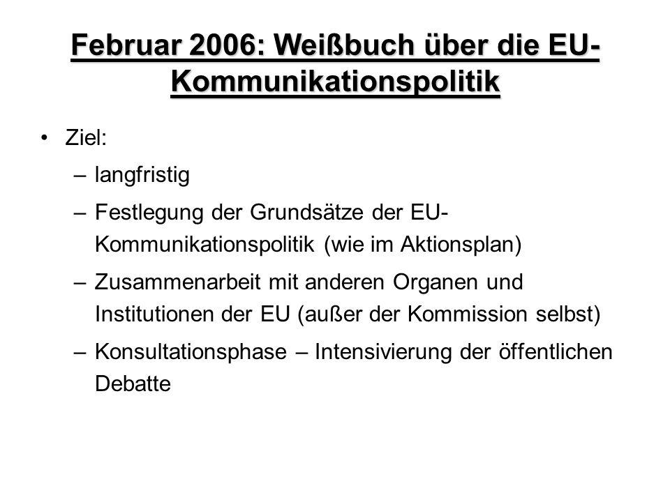 Februar 2006: Weißbuch über die EU- Kommunikationspolitik Ziel: –langfristig –Festlegung der Grundsätze der EU- Kommunikationspolitik (wie im Aktionsp