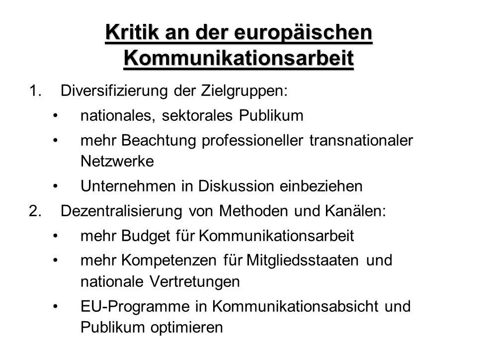 Kritik an der europäischen Kommunikationsarbeit 1.Diversifizierung der Zielgruppen: nationales, sektorales Publikum mehr Beachtung professioneller tra