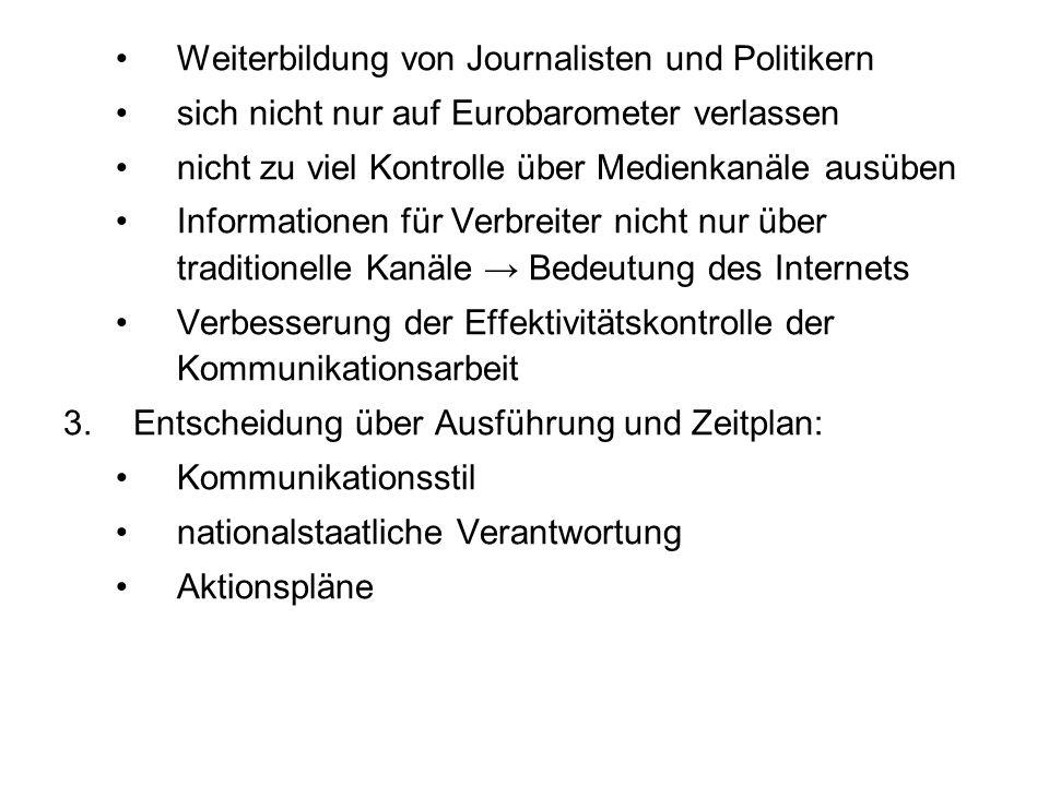 Weiterbildung von Journalisten und Politikern sich nicht nur auf Eurobarometer verlassen nicht zu viel Kontrolle über Medienkanäle ausüben Information