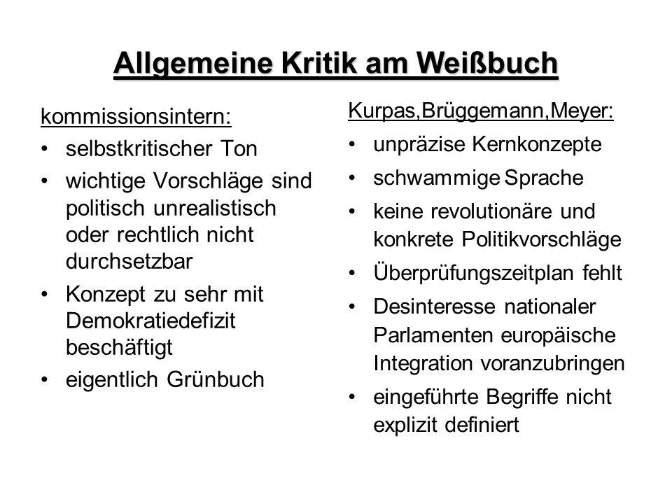 Allgemeine Kritik am Weißbuch kommissionsintern: selbstkritischer Ton wichtige Vorschläge sind politisch unrealistisch oder rechtlich nicht durchsetzb