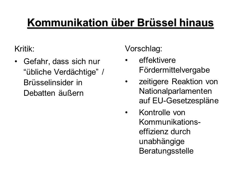 """Kommunikation über Brüssel hinaus Kritik: Gefahr, dass sich nur """"übliche Verdächtige"""" / Brüsselinsider in Debatten äußern Vorschlag: effektivere Förde"""