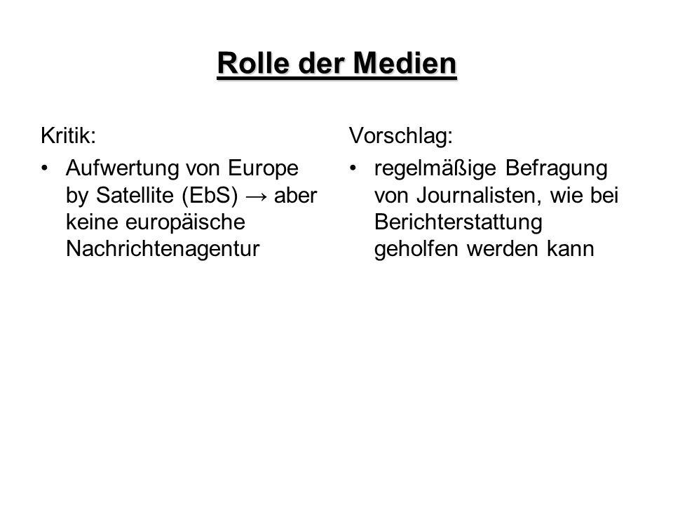 Rolle der Medien Kritik: Aufwertung von Europe by Satellite (EbS) → aber keine europäische Nachrichtenagentur Vorschlag: regelmäßige Befragung von Jou