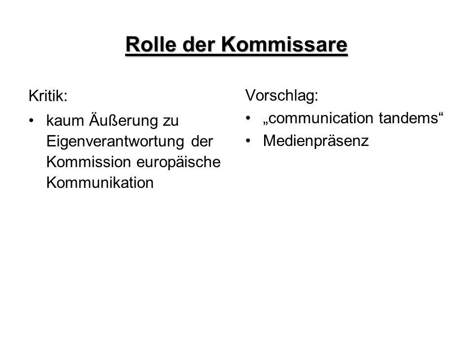 """Rolle der Kommissare Kritik: kaum Äußerung zu Eigenverantwortung der Kommission europäische Kommunikation Vorschlag: """"communication tandems"""" Medienprä"""