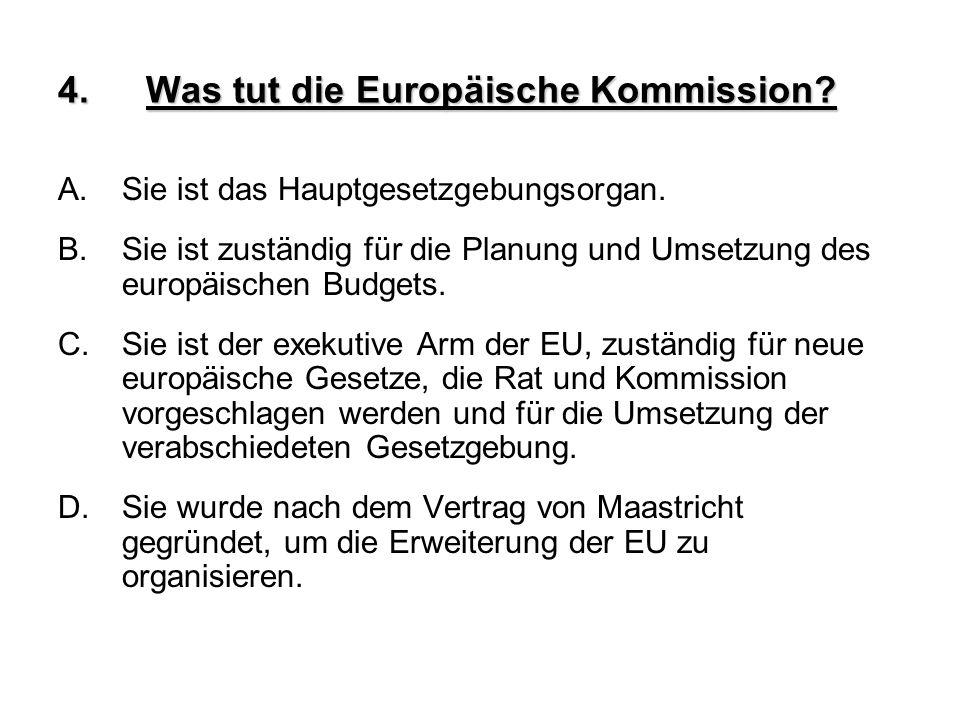 4.Was tut die Europäische Kommission? A.Sie ist das Hauptgesetzgebungsorgan. B.Sie ist zuständig für die Planung und Umsetzung des europäischen Budget