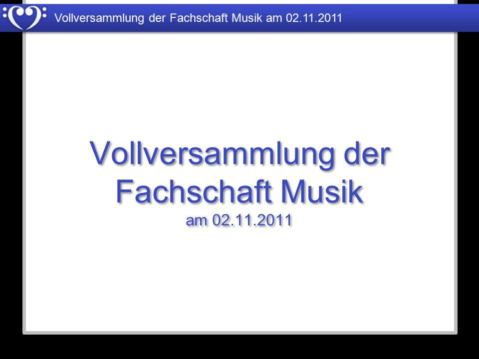 Vollversammlung der Fachschaft Musik am 02.11.2011 Studiengebühren Ausstattung Tonstudio Zuschuss zum Bibliotheksetat Literatur und Tonträger 2.000€ 465€