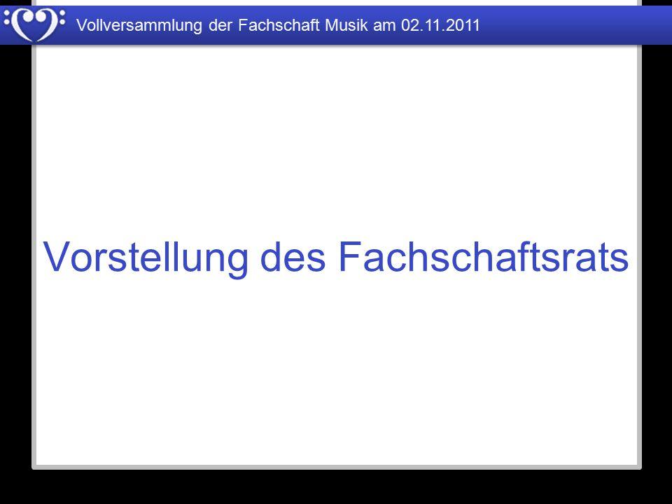 Vollversammlung der Fachschaft Musik am 02.11.2011 Studiengebühren 2 Steinway Klaviere Überholung Flügel Studiobühne Reiseklavier (Stagepiano) Alles Klaviere stimmen (2x) HD Camcorder Becken Notenständer / Kabeltrommeln Gitarrenverstärker Aktiv-Subwoofer Instrumente und Zubehör 45.400,-€ 10.105,-€ 2.600,-€ 2.075,-€ 990,-€ 868,-€ 672,-€ 370,-€ 349,-€