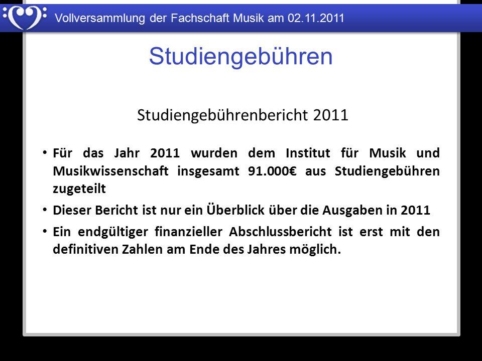 Vollversammlung der Fachschaft Musik am 02.11.2011 Studiengebühren Für das Jahr 2011 wurden dem Institut für Musik und Musikwissenschaft insgesamt 91.