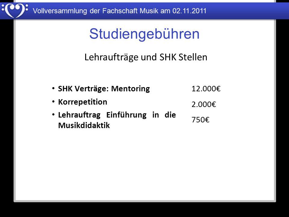 Vollversammlung der Fachschaft Musik am 02.11.2011 Studiengebühren SHK Verträge: Mentoring Korrepetition Lehrauftrag Einführung in die Musikdidaktik L