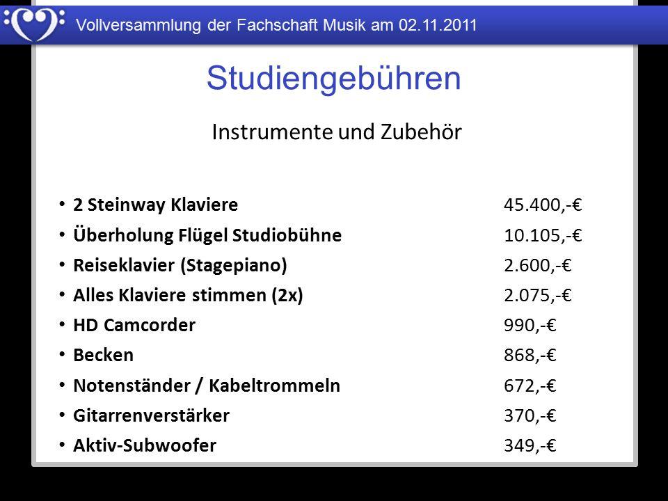Vollversammlung der Fachschaft Musik am 02.11.2011 Studiengebühren 2 Steinway Klaviere Überholung Flügel Studiobühne Reiseklavier (Stagepiano) Alles K