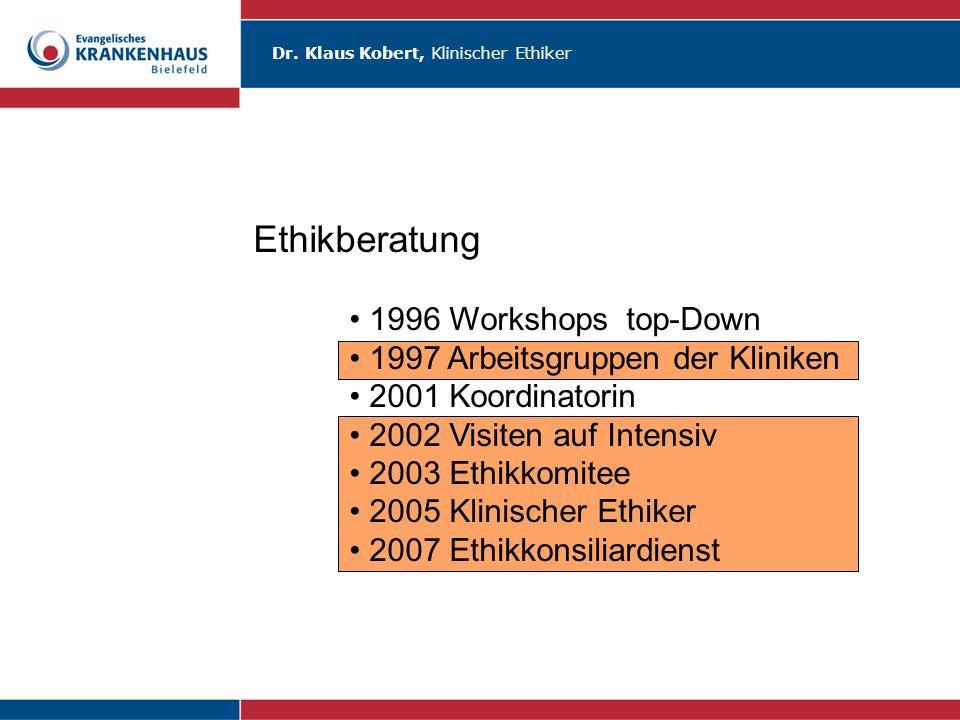 Dr. Klaus Kobert, Klinischer Ethiker Ethikberatung 1996 Workshops top-Down 1997 Arbeitsgruppen der Kliniken 2001 Koordinatorin 2002 Visiten auf Intens