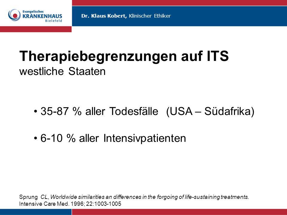 Dr. Klaus Kobert, Klinischer Ethiker Therapiebegrenzungen auf ITS westliche Staaten 35-87 % aller Todesfälle (USA – Südafrika) 6-10 % aller Intensivpa