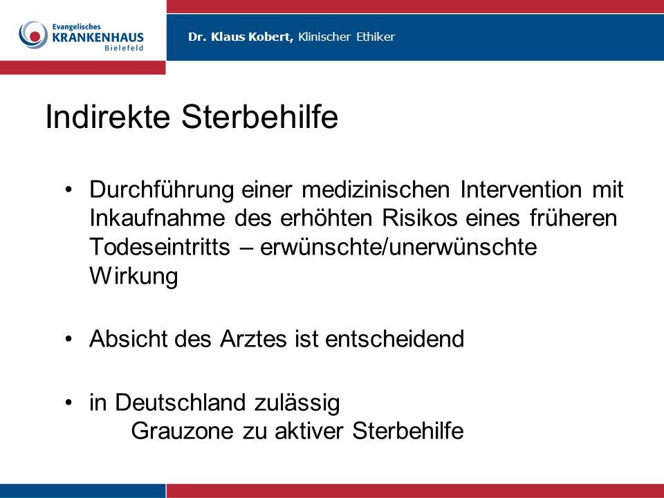 Dr. Klaus Kobert, Klinischer Ethiker Indirekte Sterbehilfe Durchführung einer medizinischen Intervention mit Inkaufnahme des erhöhten Risikos eines fr