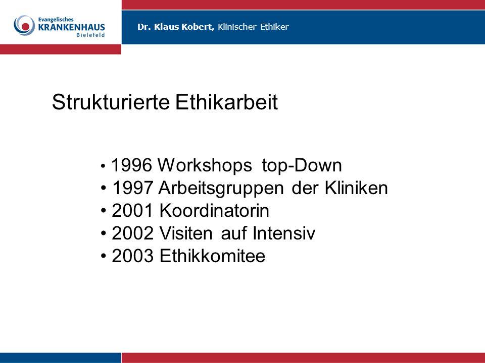 Dr. Klaus Kobert, Klinischer Ethiker Strukturierte Ethikarbeit 1996 Workshops top-Down 1997 Arbeitsgruppen der Kliniken 2001 Koordinatorin 2002 Visite