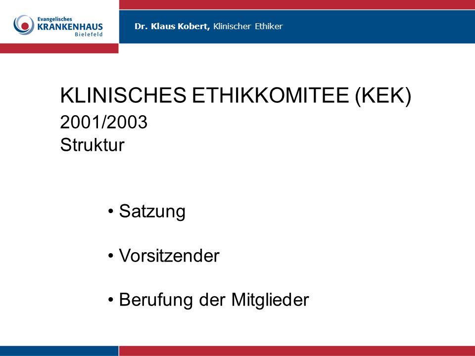 Dr. Klaus Kobert, Klinischer Ethiker KLINISCHES ETHIKKOMITEE (KEK) 2001/2003 Struktur Satzung Vorsitzender Berufung der Mitglieder